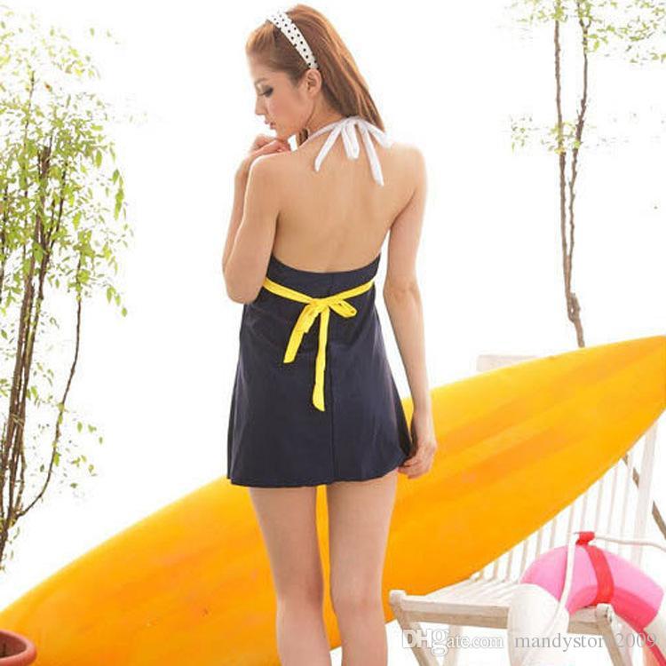 3XL New One piece Swimsuits Sailor Stripe Women Padded Beach Swimwear Swimsuit Dress Navy Blue Plus Size Bikini Tankini Attached Bottom
