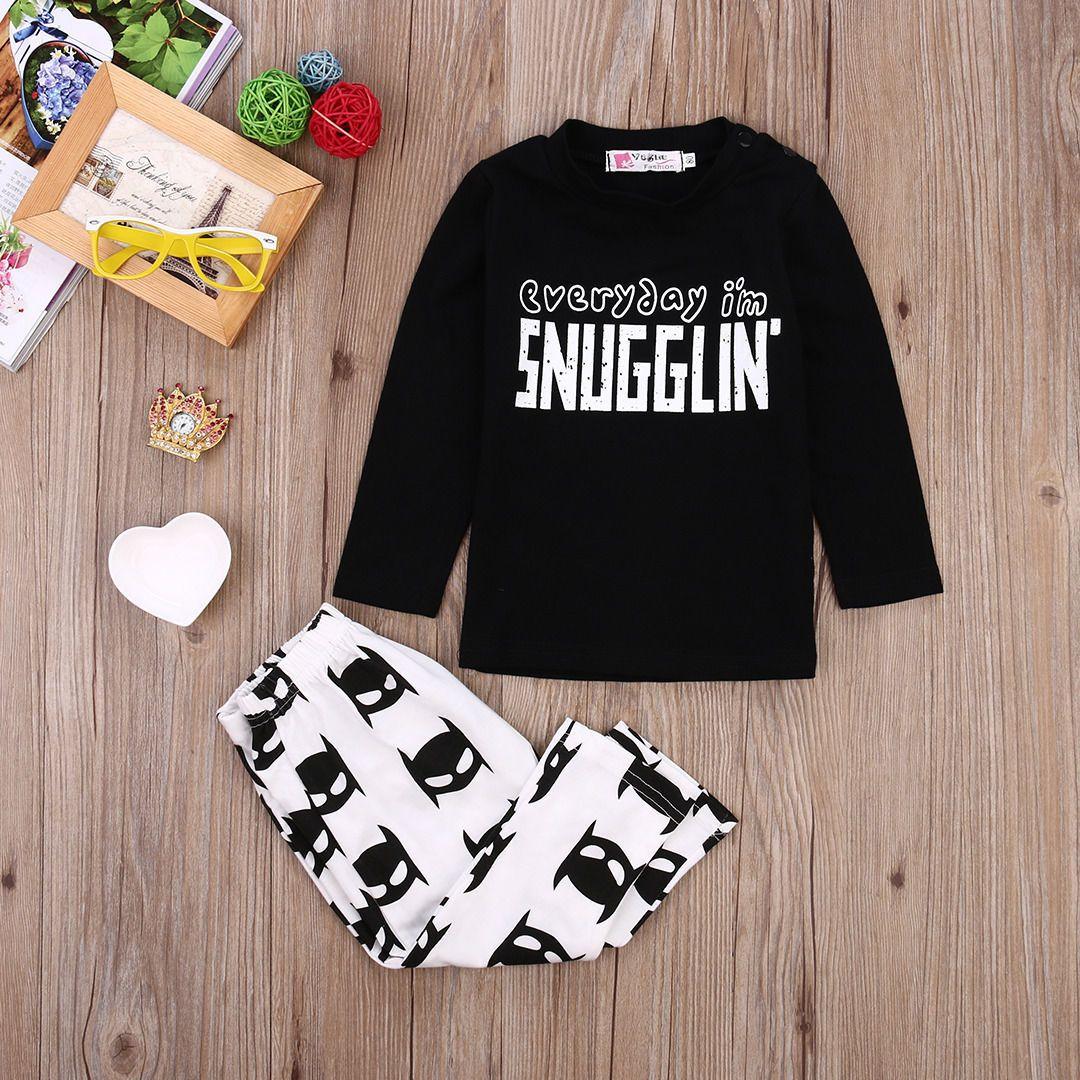 Newborn Toddler Baby Boys Batman snugglin letter printed kids boy girl Clothes Long Sleeve cotton T-shirt+Pants Outfits 0-24M