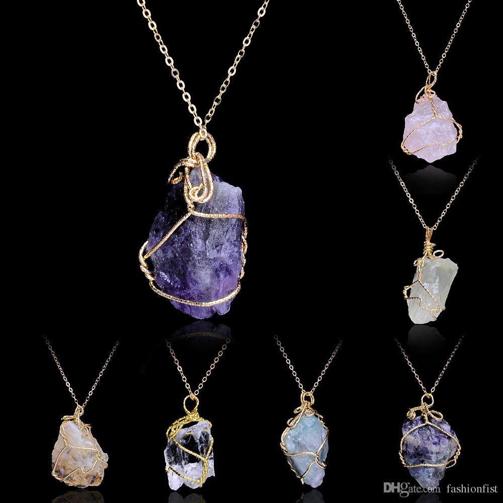 5d04533fa75f1 Multi Color Handmade Irregular Amethyst Citrine Wire Wrapped Pendant  Necklace Women Natural Stone Crystal Quartz Fluorite Necklaces Jewelry