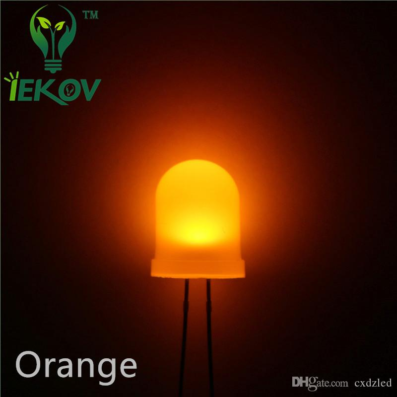 High Quality 10mm Diffused Orange/Amber LED 10MM Round top Ultra Bright LED Emitting Diodes Lamp Electronic Components Wholesale