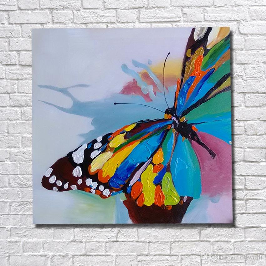 Contemporary Paintings Art on Canvas Hand Painted Flower Butterfly ...