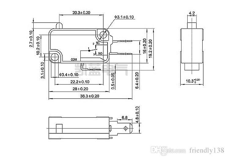 V-153-1C25 마이크로 리미트 스위치 레버 긴 힌지 / 레버 암 NO + NC 새로운 미니 순간 리미트 마이크로 스위치 SPDT 스냅 액션 스위치