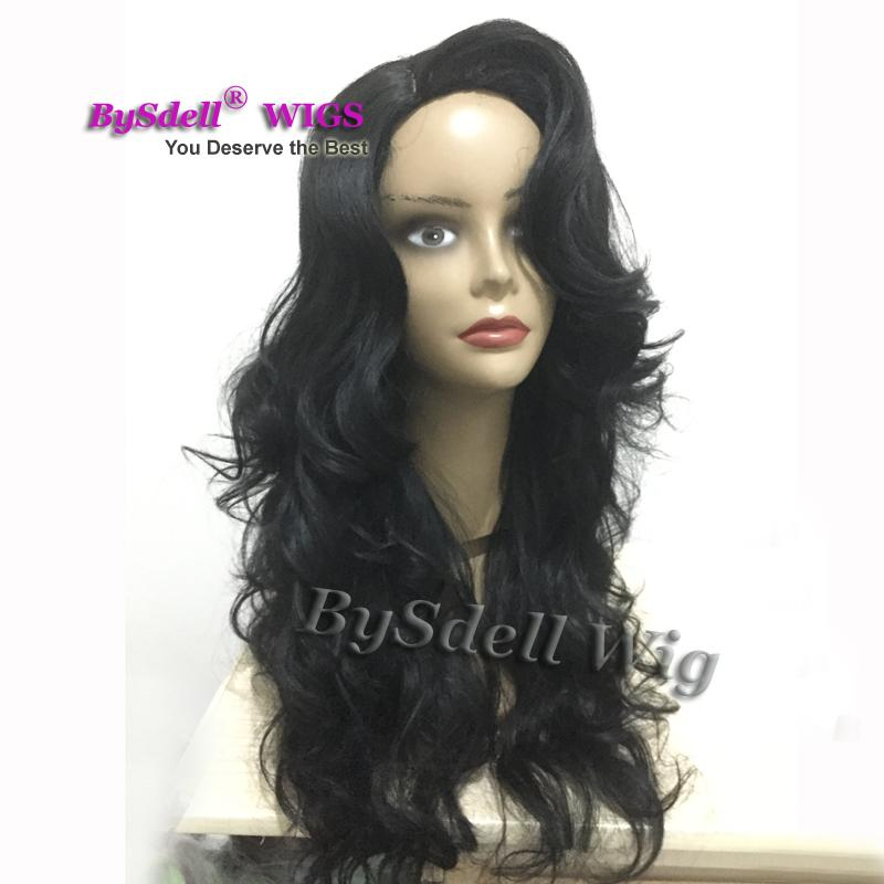 Amazing Kim K Curl Hairstyle Wig Long Side Big Fringe Body Wave Hair Wig Glueless Synthetic None Lace front wigs for black women
