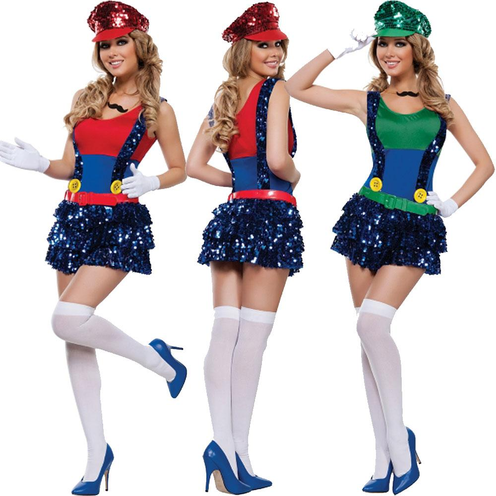 2018 Sexy Super Mario And Luigi Fancy Dress Halloween Costume Women Hen Party Night From Jeekwang $19.7 | Dhgate.Com  sc 1 st  DHgate.com & 2018 Sexy Super Mario And Luigi Fancy Dress Halloween Costume Women ...
