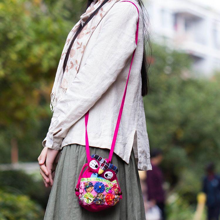 Hand-made Children Kids Girls Casual Owl Handbag Messenger Shoulder Bag Cross Body Handbags Tote Purse Satchel Hobos Gift B6324