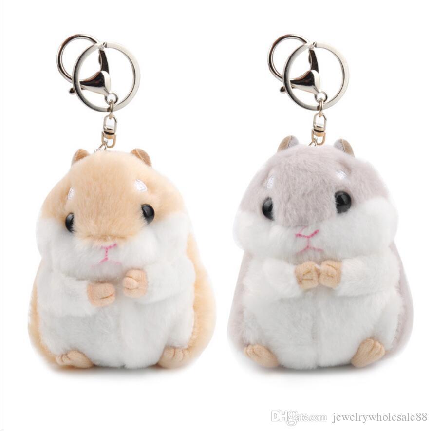 cartoon cute hamster keychain keyring plush purse bag charms pendant