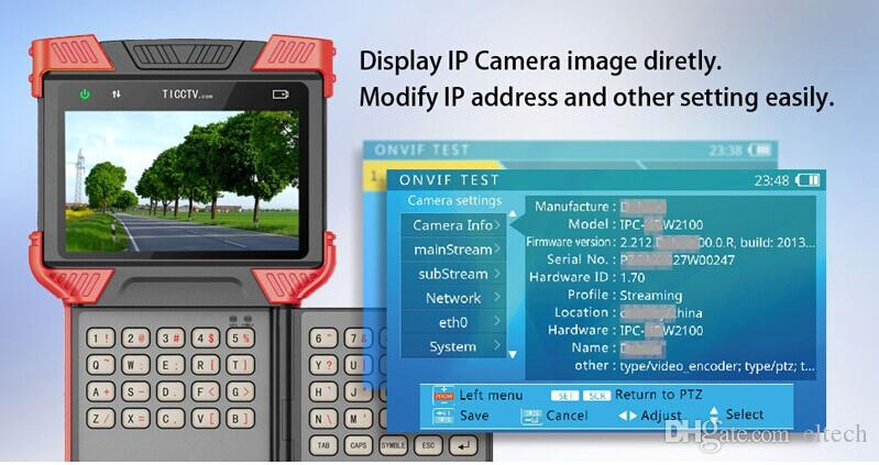 4k 4.0 Inch HD Combine Tester IP Camera CCTV Tester Support Analog +3.0 CVI +AHD+TVI+H.265 IPC With TDR Test
