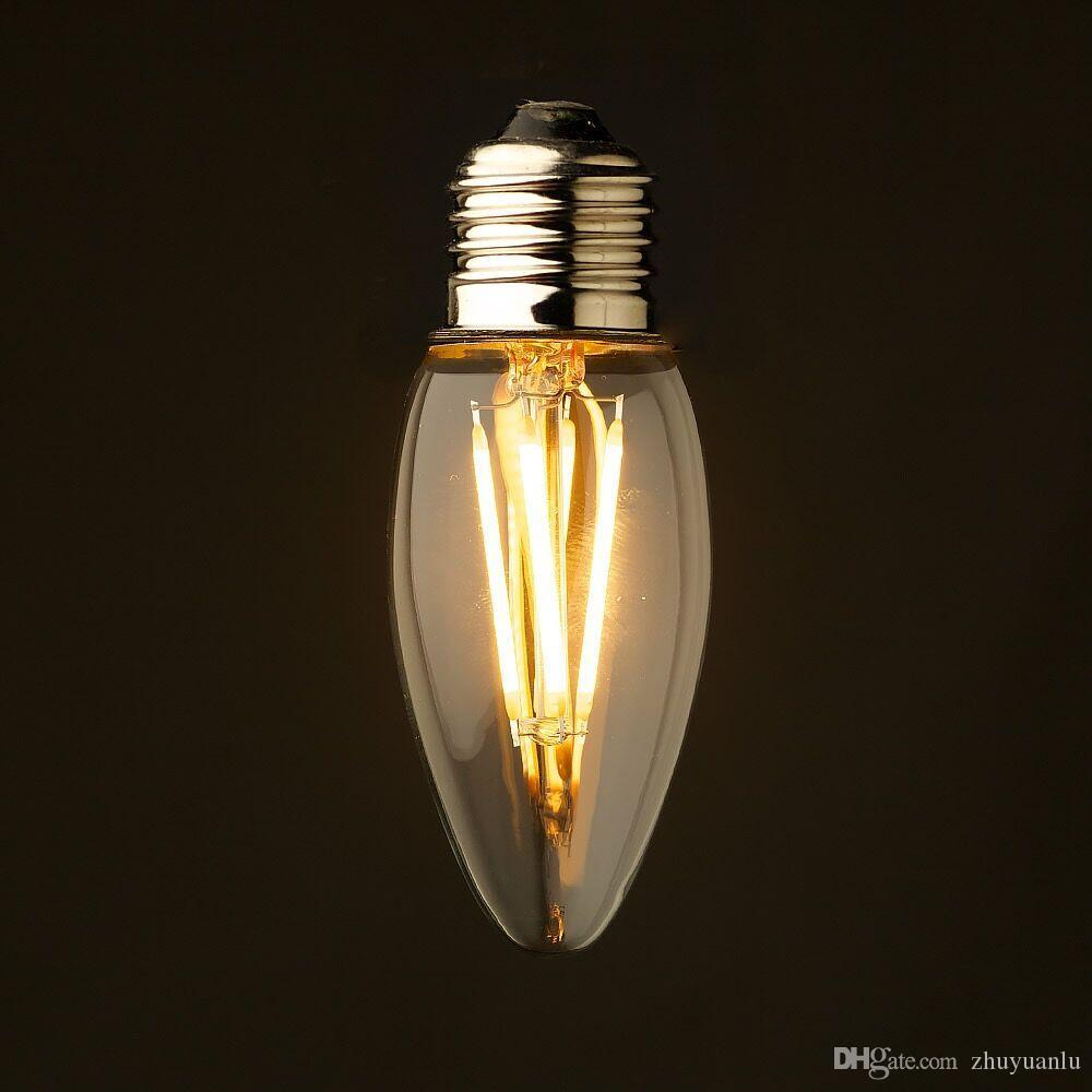 Edison led filament light bulb chandelier candle style e12 e14 see larger image arubaitofo Gallery