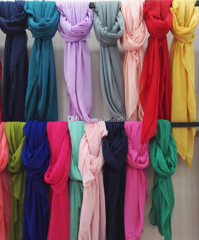 Kadınlar Katı Renk Eşarp Kış Şeker Renk Eşarp 60 * 180cm Şal Ve Eşarplar Keten Pamuk Eşarp Isınma Plaj Pashmina 42 renk OOA778 Havlu