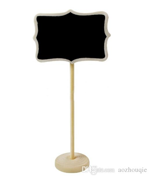 Toptan Ücretsiz Kargo Mini Ahşap Ahşap Kara Tahta Tahta Üzerinde Sopa Standı Yeri Kart Tutucu Masa Numarası Düğün Olay Dekorasyon için