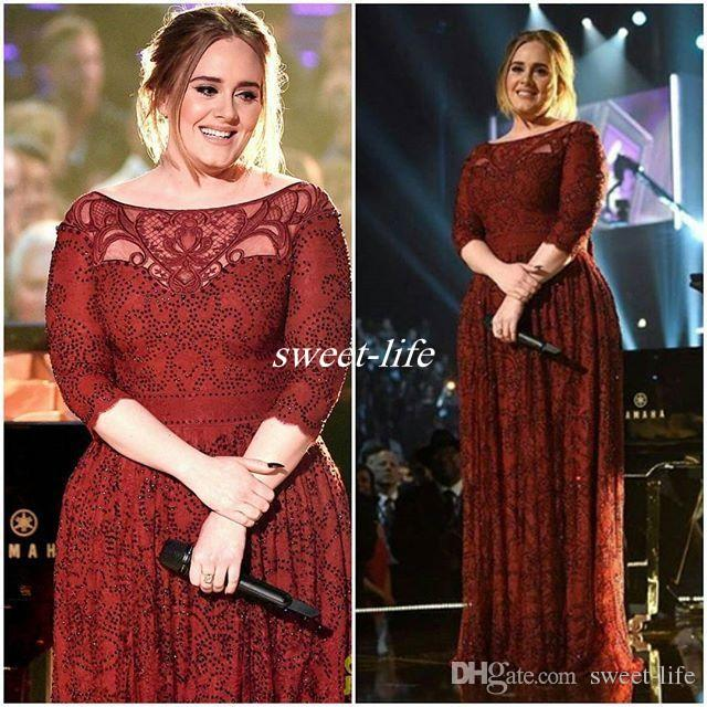 Dark Red Plus Size Formal Wear Half Sleeve Lace Applique 2016 Adele ...