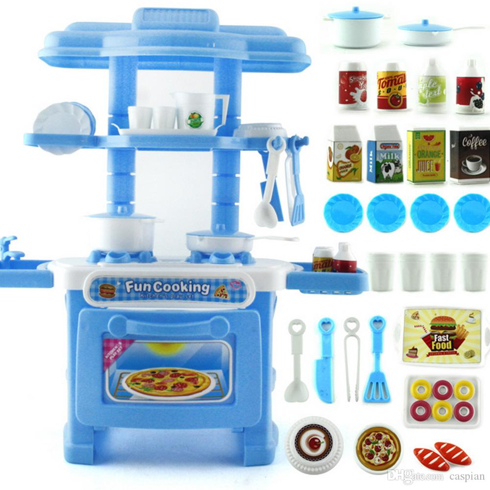 Children Simulation Kitchen Cookware Pretend Role Play Toy Kitchen ...