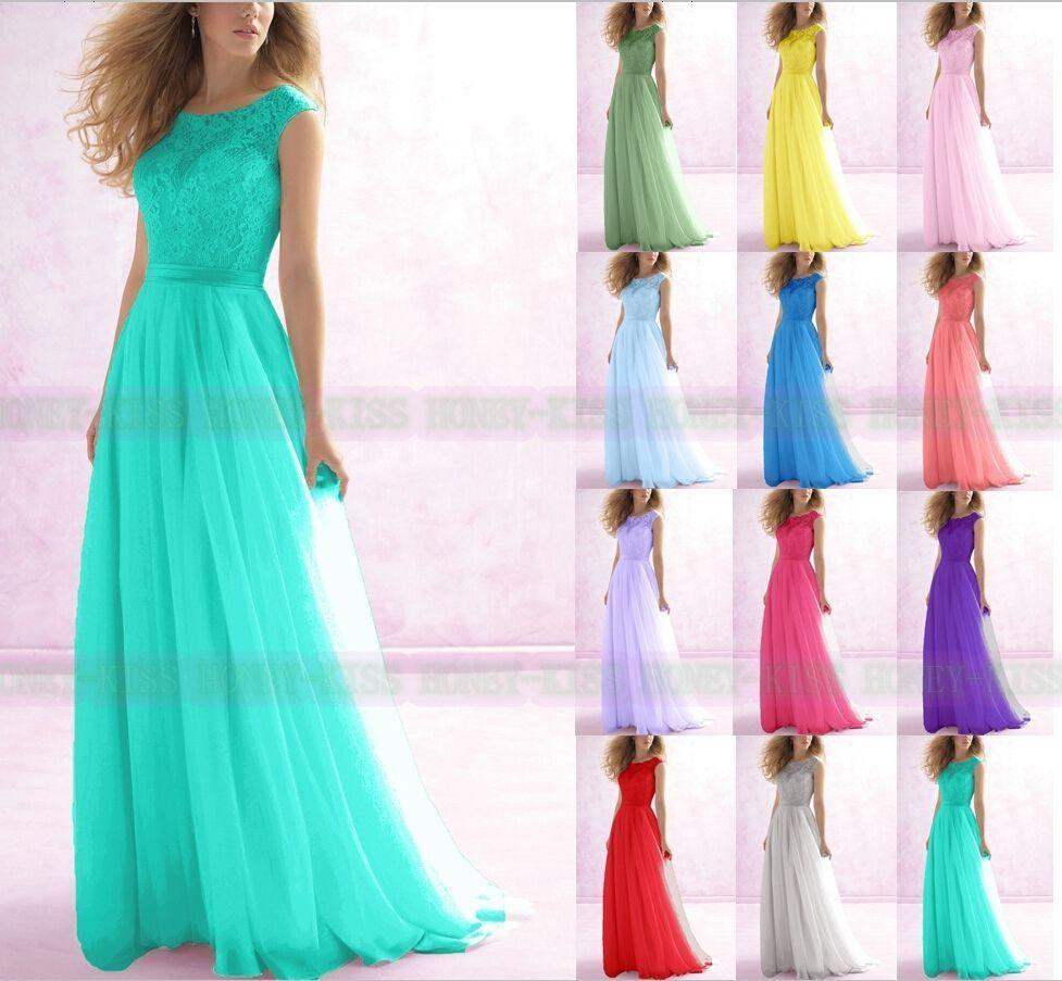 bridesmaids dresses long Formal Lace Evening Ball Gown Party Prom Bridesmaid Dresses lace chiffon dresses bridesmaids teal