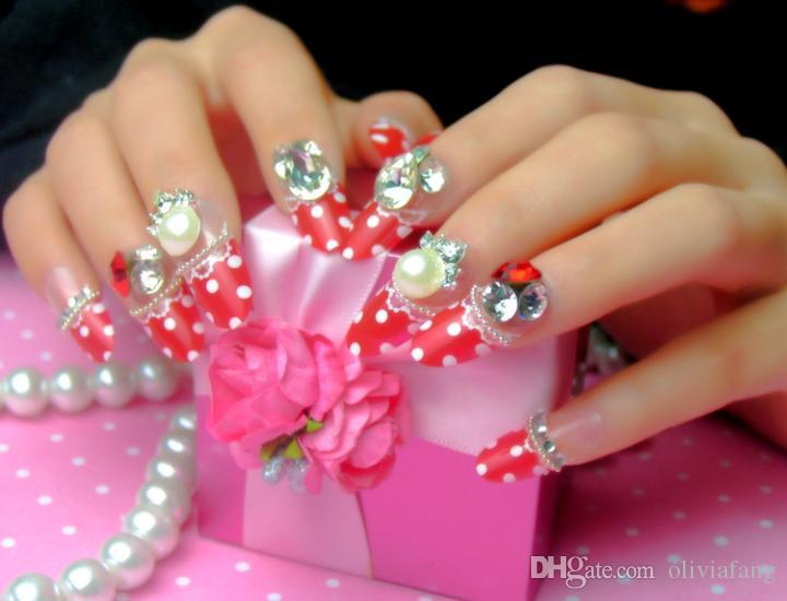 Cute design decorated fake nails long finger nail tips full cover cute design decorated fake nails long finger nail tips full cover top round with 3d rhinestone bling bling wedding party nail beauty french how to do prinsesfo Gallery