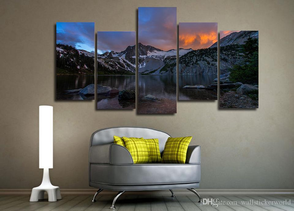 Framed Printed Mountain lake landscape Painting on canvas room decoration print poster picture canvas /ny-4958