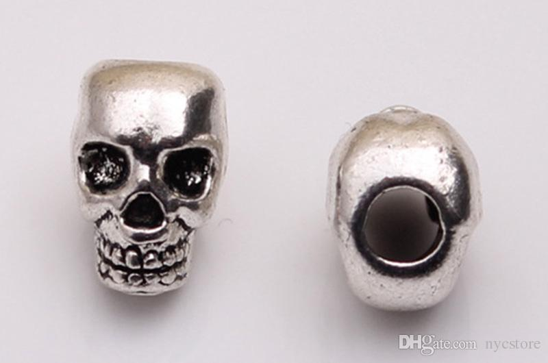 Cabeza del cráneo al por mayor de los granos del esqueleto Mal zinc metal de la aleación grande del agujero del encanto del grano de cadena apta europea pulseras de Pandora joyería