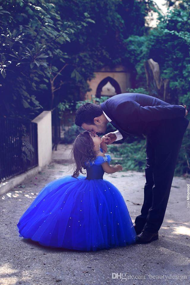 Fashion Royal Blue Toddler Flower Girls Dresses For Weddings Short Sleeves Girl Birthday Party Dress Ball Gown Little Girls Pageant Wear