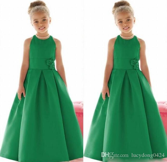 Perfect Long Flower Girl Dresses Fashion Pageant Party Dresses Jewel Sleeveless Floor Length Formal For Wedding Party Gowns