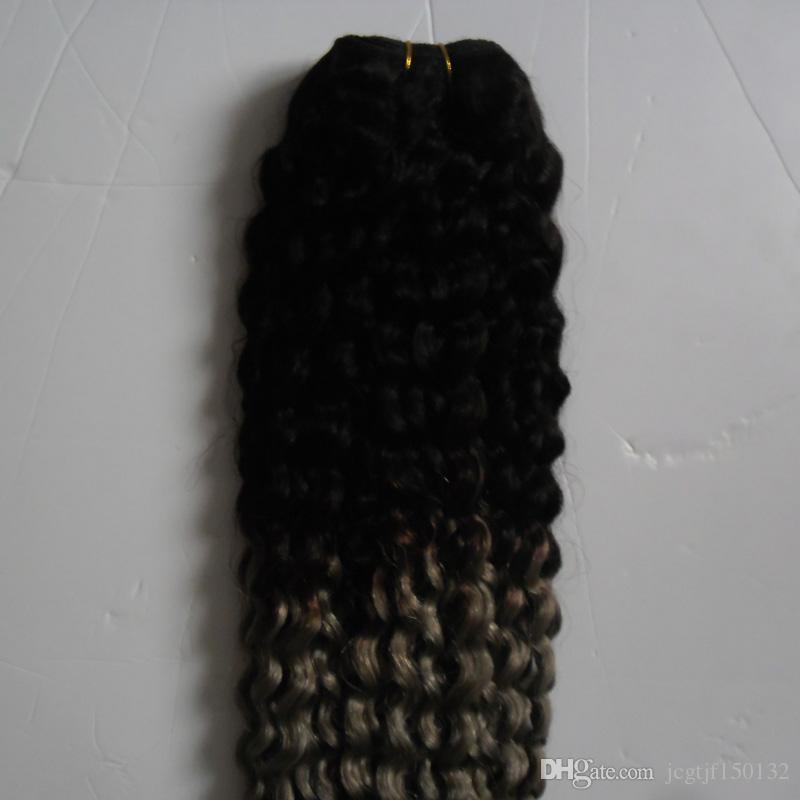 Kinky Curly Virgin Hair Silver Grey Ombre Extensiones de cabello humano Dos tonos Ombre Brasileño Virgin Virgin Hair Gris Armadura