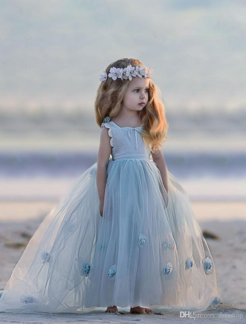 2019 Dollcake Flower Girl Dresses Special Occasion For Weddings Appliques Kids Pageant Gowns Floor Length Lace Ball Gown Communion Dress