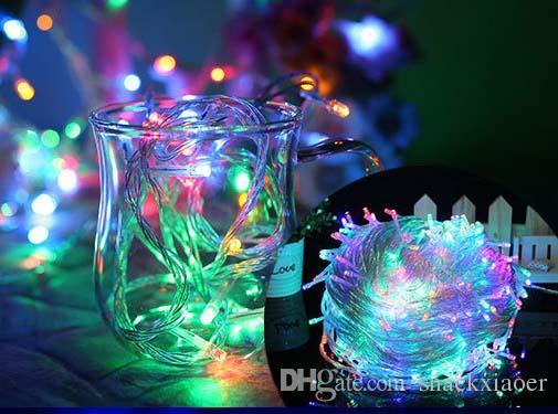 Fasci di luce a LED a LED 100 LED 10M 110V / 220V decorazione natalizia con filo trasparente Con connettore X'mas luci natalizie