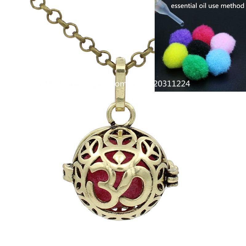 Antique Bronze 3D Yoga OM Ohm Charms Pendant Glowing Locket Box for Aromatherapy Perfume Essential Oil Diffuser Necklace