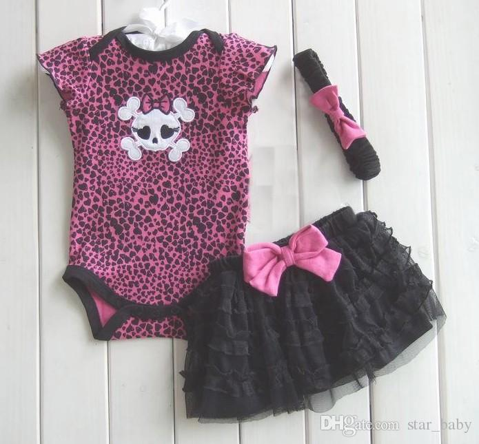 11 Styles Hot Baby Kids Clothes Romper + Tutu Skirt + Headband Set Fashion Leopard Dots Skull Lace Tutu Outfits Children Rompers B2788