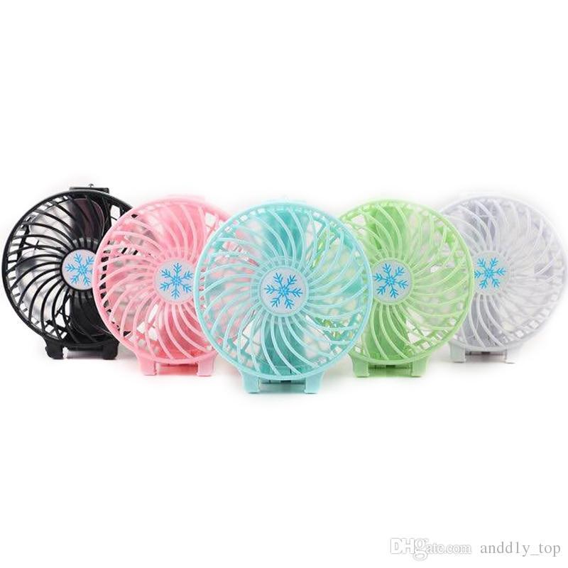 Poignée ventilateur USB pliable poignée Mini charge Ventilateurs Snowflake portable à main pour Bureau Cadeaux RETAIL BOX 6 couleurs