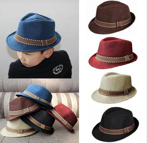 Hats & Caps Accessories Nice Cool Beige Children Kids Summer Unisex Fedora Contrast Trim Jazz Hat 2016 Hot 100% Original