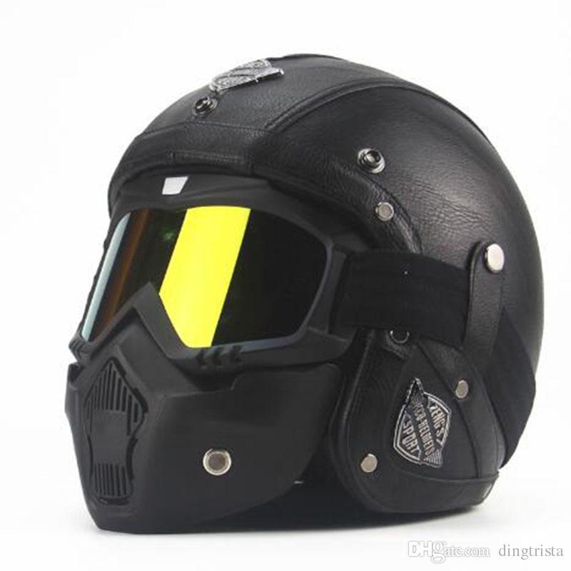 Tkosm Adult Leather Harley Helmets 3/4 Motorcycle Helmet ...