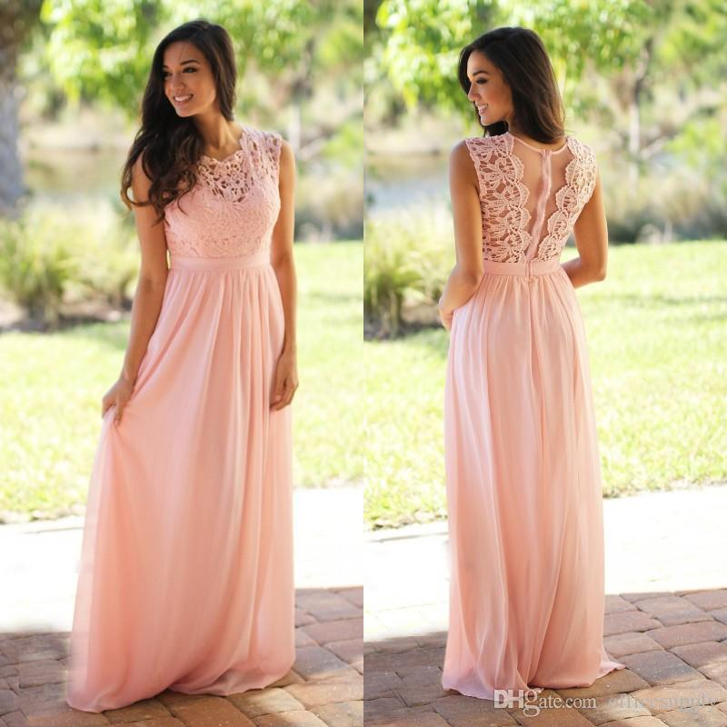 4c0a81a1c7d19 Pink Bridesmaid Dress With Tulle Back A Line Lace Chiffon Floor Length Maid  Of Honor Gowns Wedding Guest Bridesmaids Dresses Bridesmaids Dress Patterns  ...