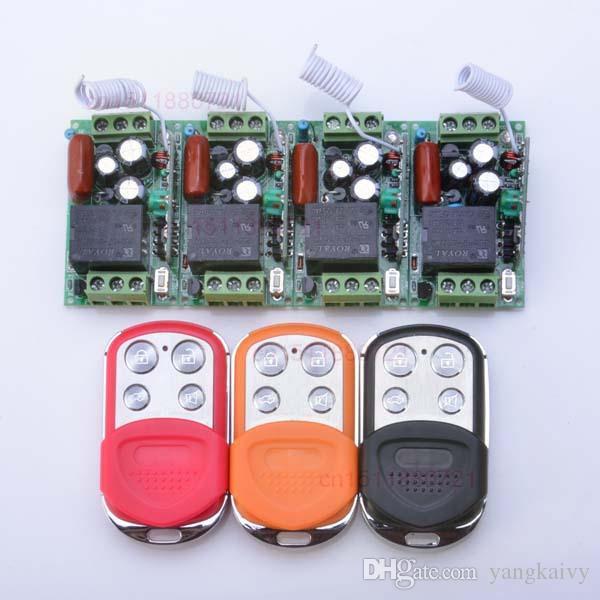 ac220v 1ch 10a لاسلكي للتحكم التبديل 4 استقبال 3 اللون الارسال كود التعلم حظية تبديل مغلق