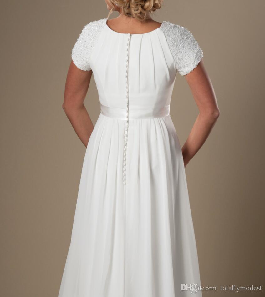 아이보리 뚜껑이있는 쉬폰 해변 겸손 웨딩 드레스 캡 슬리브 A 라인 사원 신부 가운 비공식 여름 웨딩 드레스 새로운 저렴한