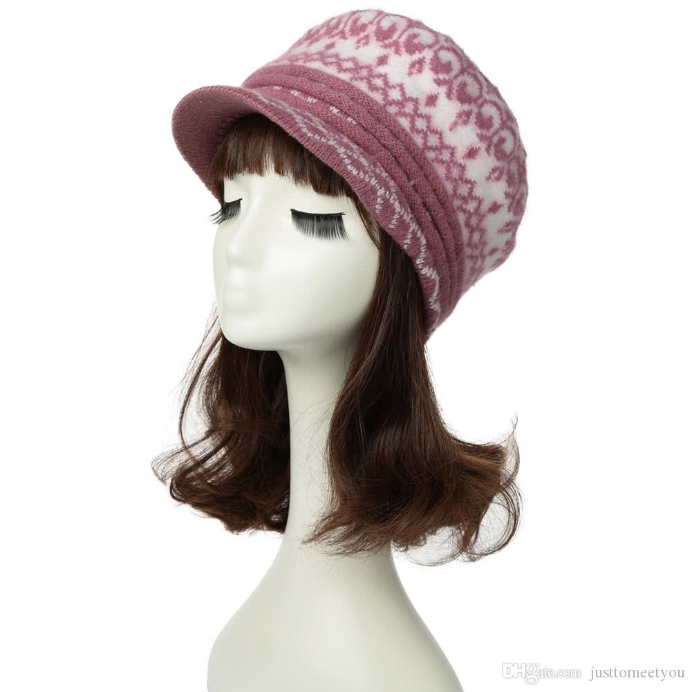 Compre Sombrero De La Boina De Punto De Las Mujeres Beanie Visor ...