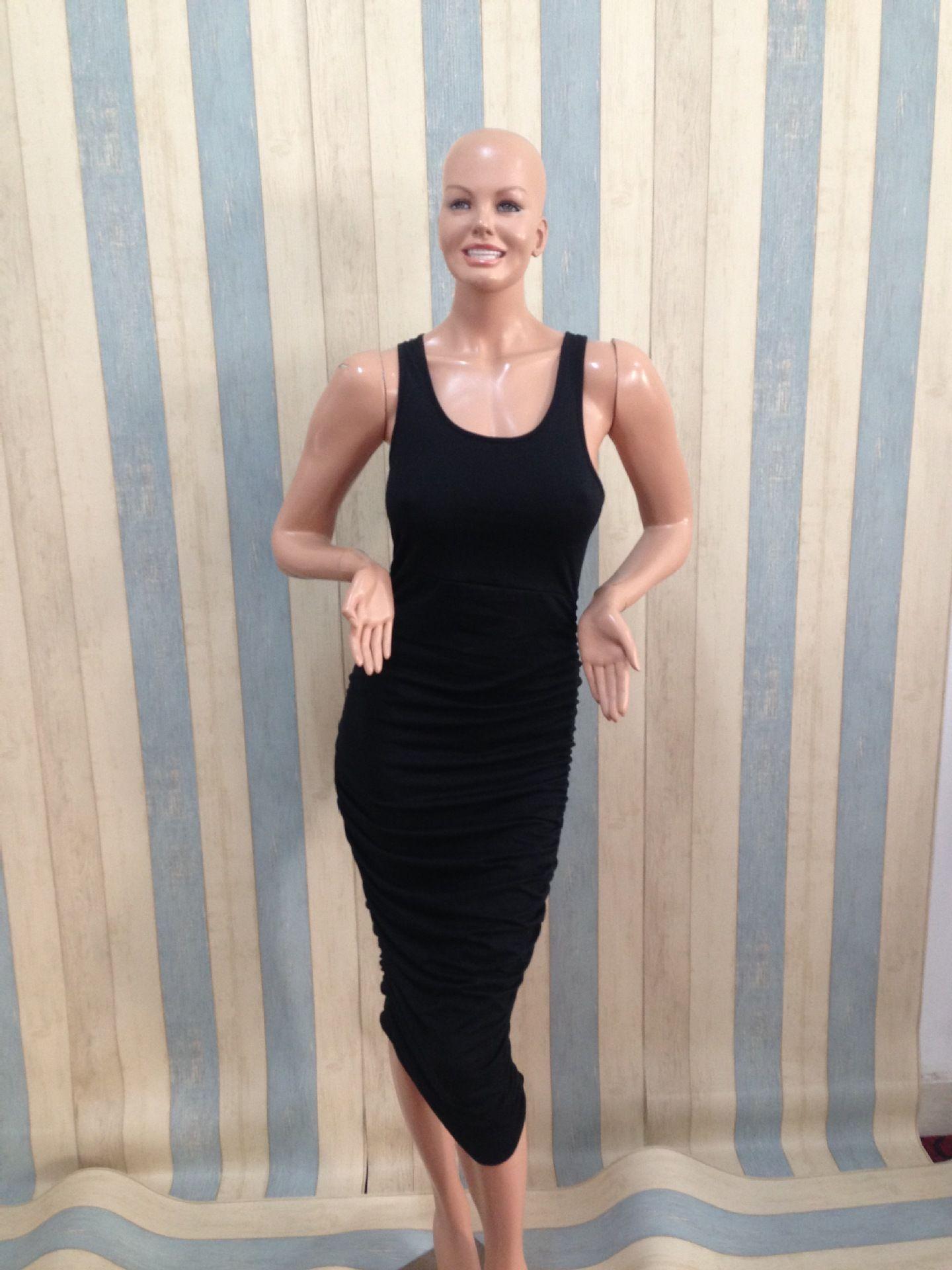 ブラックホワイトグレーグリーンベージュ夏スタイル女性コットンドレスロングプリーツトップセクシーな包帯カジュアルベストドレスマキシサイズs m l