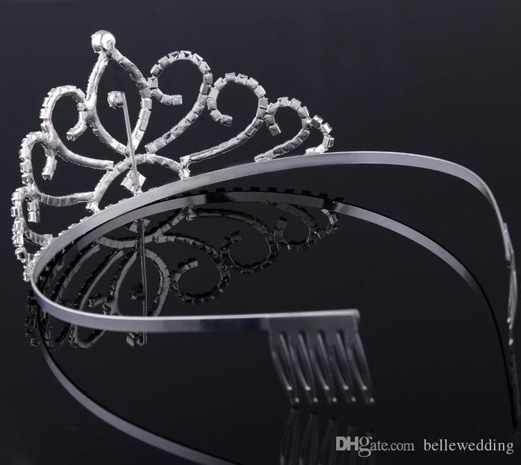 Joyería nupcial tiaras coronas con diamantes de imitación de novia niñas partido de tarde del baile de fin de manifestación espectacular Crystal tiaras de la boda Accesorios # BW-T015