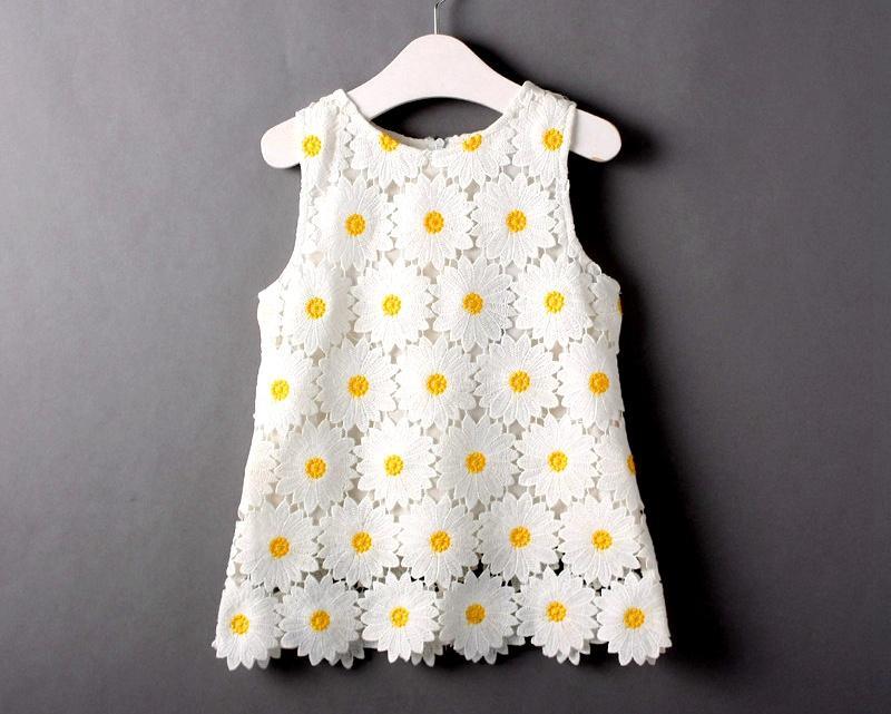2017 Ins 2016 Summer Kids Lace Flower Dresses Summer Full Cotton ...