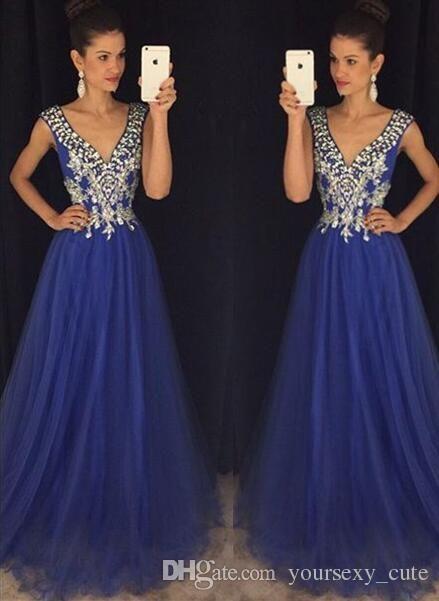 2017 elegante Royal Blue Prom Kleider mit V-Ausschnitt Cap Sleeves Kristall Perlen Tulle Bodenlangen Ballkleid Prom Kleider Abendkleider