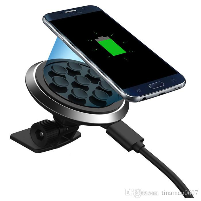 new styles 1ebcf 33cdf Qi wireless car charger for iPhone 5 5s 6 6s plus 6plus universal charging  pad transmitter receiver with 360 rotate phone holders suckers
