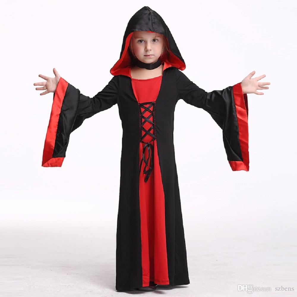 Kids V&ire Dress Costume Halloween Costume For Girls Stage u0026 Dance Wear Toddler Long Sleeve Hooded Robe Party Cosplay Kid Costumes Party Costumes From ...  sc 1 st  DHgate.com & Kids Vampire Dress Costume Halloween Costume For Girls Stage u0026 Dance ...