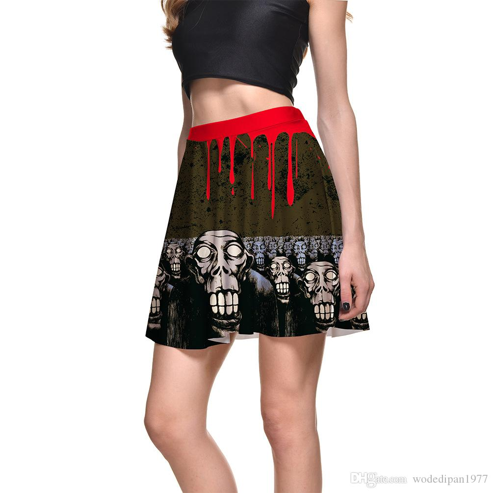 2018 New Womens Sexy Halloween Graffiti Print Short Skirts For Women