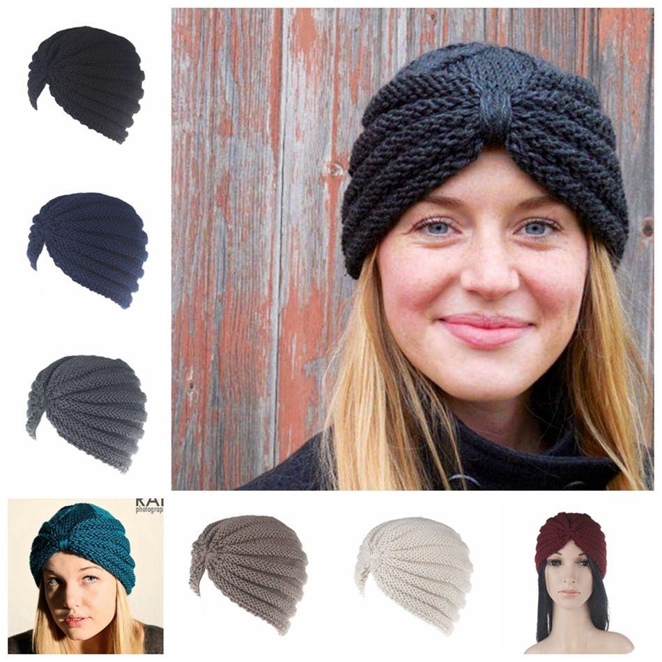 MusliM turban hat online shopping - India Knitted Hats Women Winter Hats  Turban Muslim Caps Head 045ed35f908