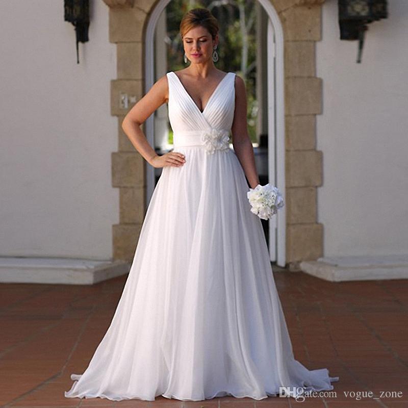 Second Hand Wedding Gown: Hand Made Flowers V Neck Beach Wedding Dresses Vestidos De