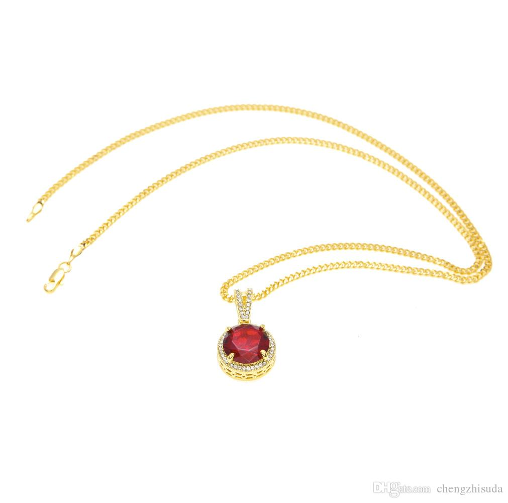 Mens Iced Out Hip Hop Mini Round Ruby Pendant Necklace Red Stone Charm Cuban Link Chain Necklaces