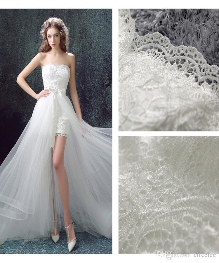 Cheap Wedding Dresses Detachable Vintage Strapless Sweep