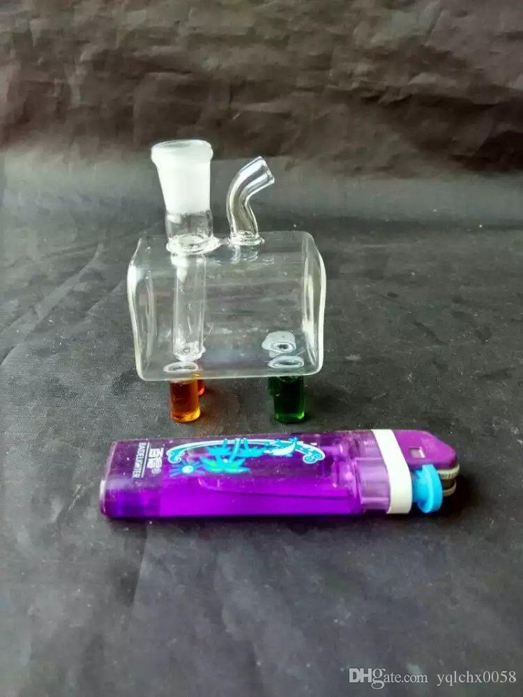 Caja pequeña de mangueras, Bongs de cristal al por mayor, pipas de agua de cristal de la hornilla de aceite, accesorios de la pipa de humo