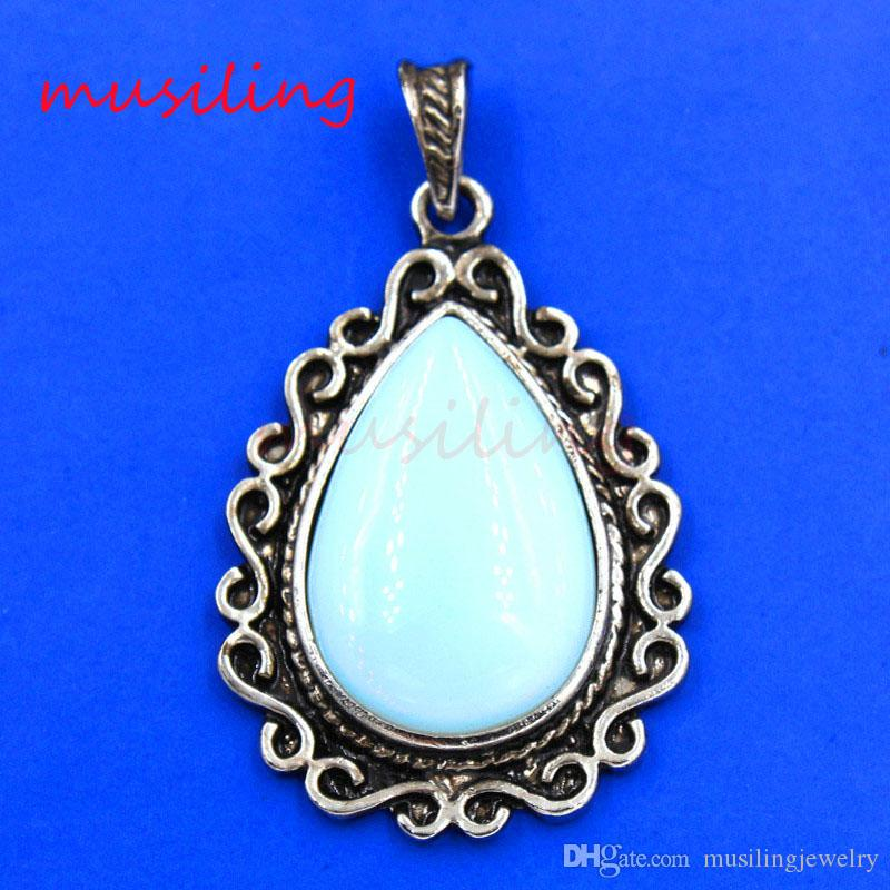 Water Drop Natural Stone Pendants Necklace Chain Retro Antique Silver Plated Opal Amethyst etc Charms Amulet Classic Jewelry For Women
