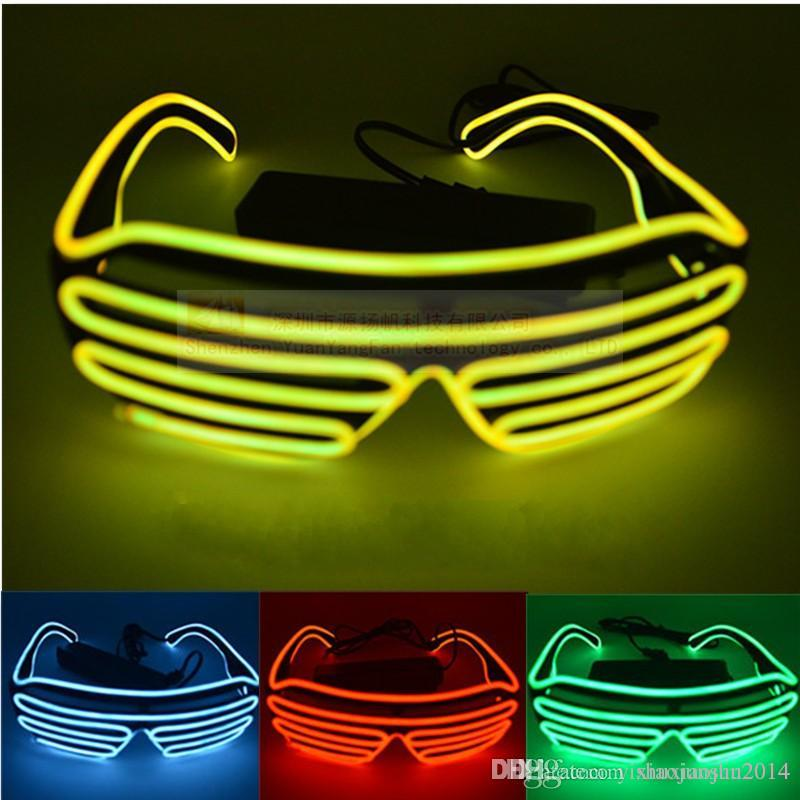 4a711a5d01 Simple El Glasses El Wire Fashion Neon LED Light Up Shutter Shaped ...
