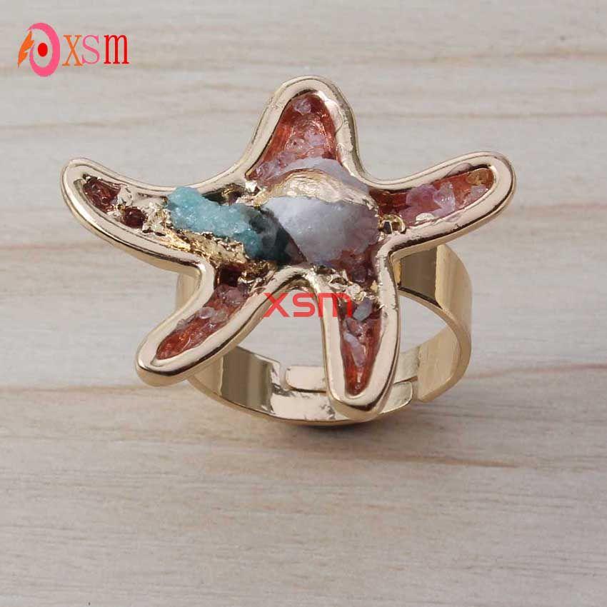 Fashion 24K Gold Unique Natural Stone Quartz Crystal Druzy Starfish Heart Flowers Wedding Ring For Women