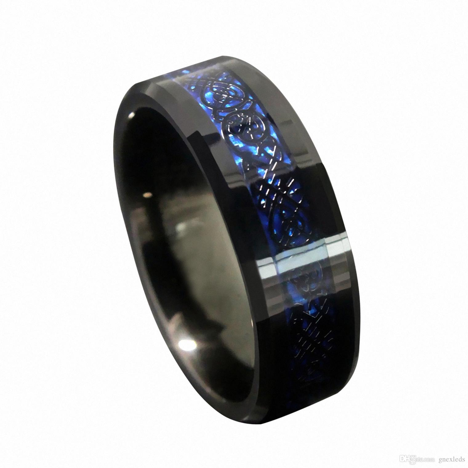 2018 8mm blue black silvering celtic dragon tungsten carbide engagement ring matching wedding band statement mens engagement jewellery from gnexleds - Black Mens Wedding Rings